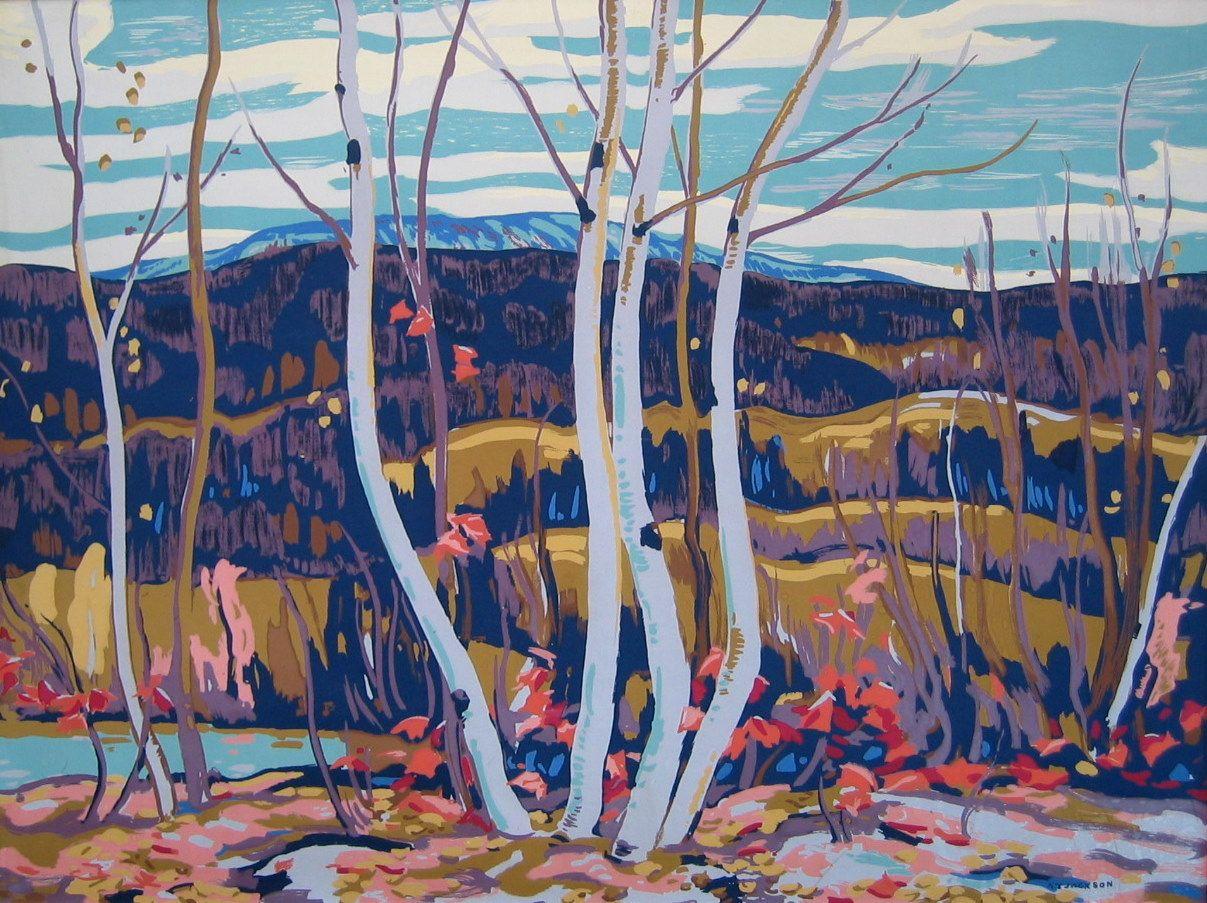 "Birch & Maple ALEXANDER YOUNG (A.Y.) JACKSON RCA, OSA, CGP (Canadian 1882 - 1974 ) Silkscreen (from the Sampson-Matthews Project) 30"" x 40"" (76.2 x 101.6cm.)"