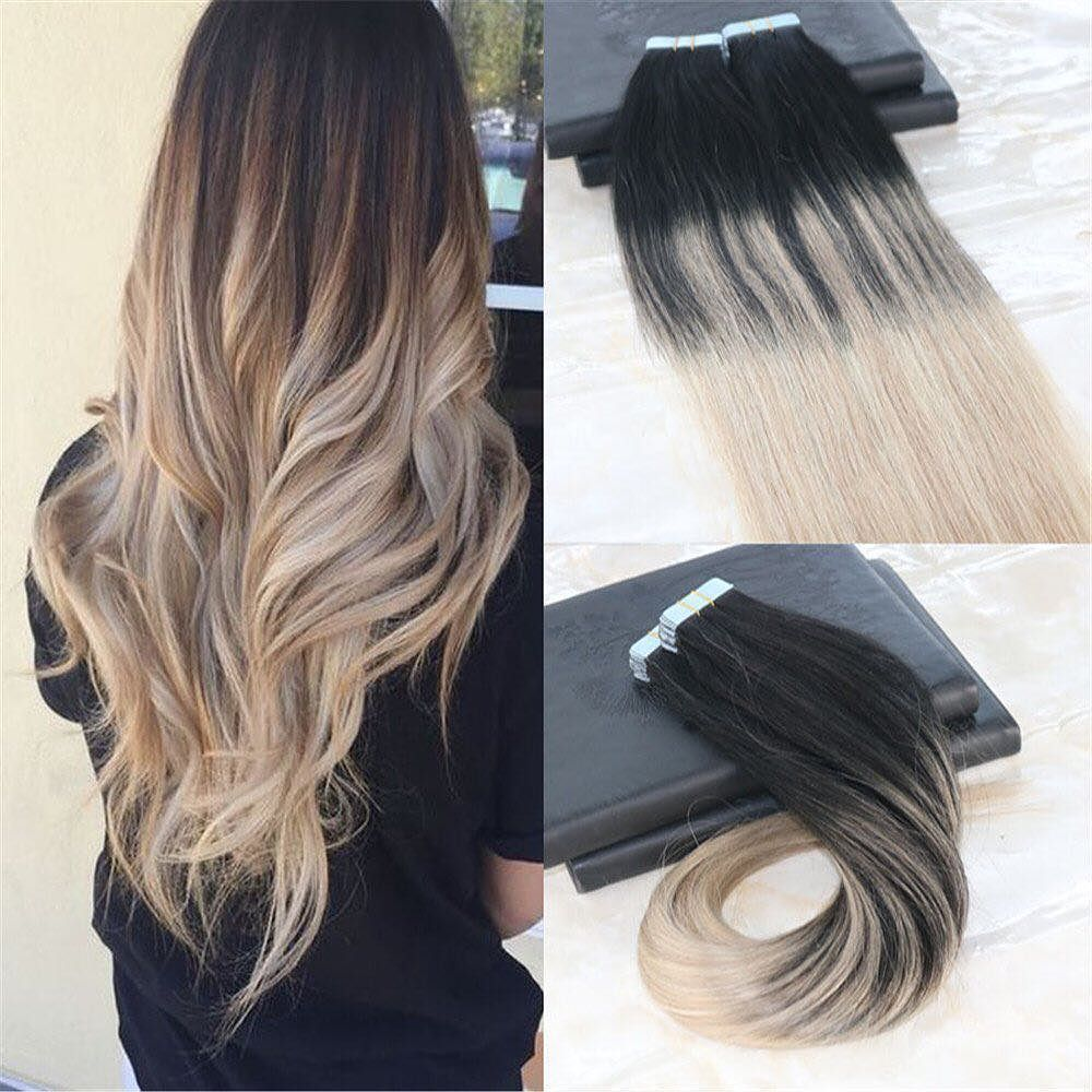 24 100g 40pcs Tape In Hair Extensions Ombre Tape Hair Extensions