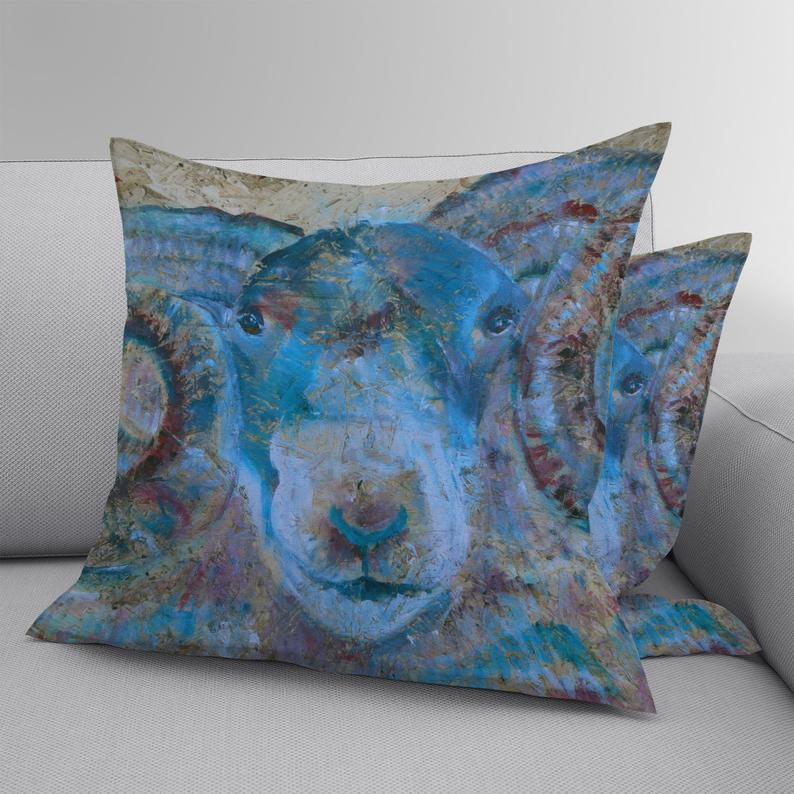 Faux suede cushion with blue ram print, luxury sheep throw pillow, double sided square cushion, suedette farm animal soft furnishings