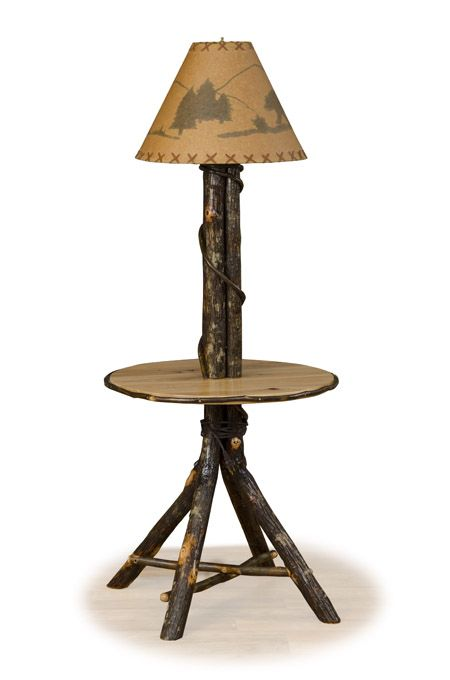 Log Table With Lamp Hickory Side Table Rustic Furniture Rustic Floor Lamps Rustic Lamps Unique Floor Lamps