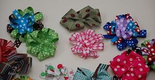 Hair Bow tutorial- haven't used this website yet, but seems like a good one that gives options for bows. :)