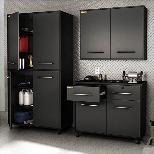 South S Karbon 3 Piece Wall Storage Unit In Pure Black And Charcoal Base Cabinet Included