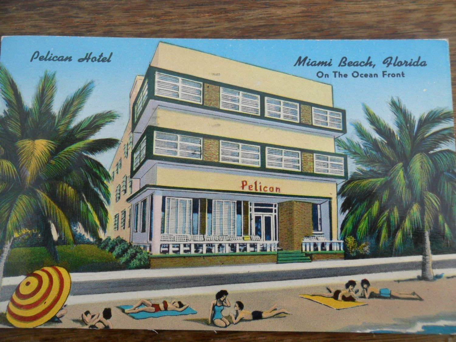 1950s Post Card Pelican Hotel Miami Beach Florida Art Deco Advertising From Amelies Farmhouse Vintage Lovingly Shared With You By The