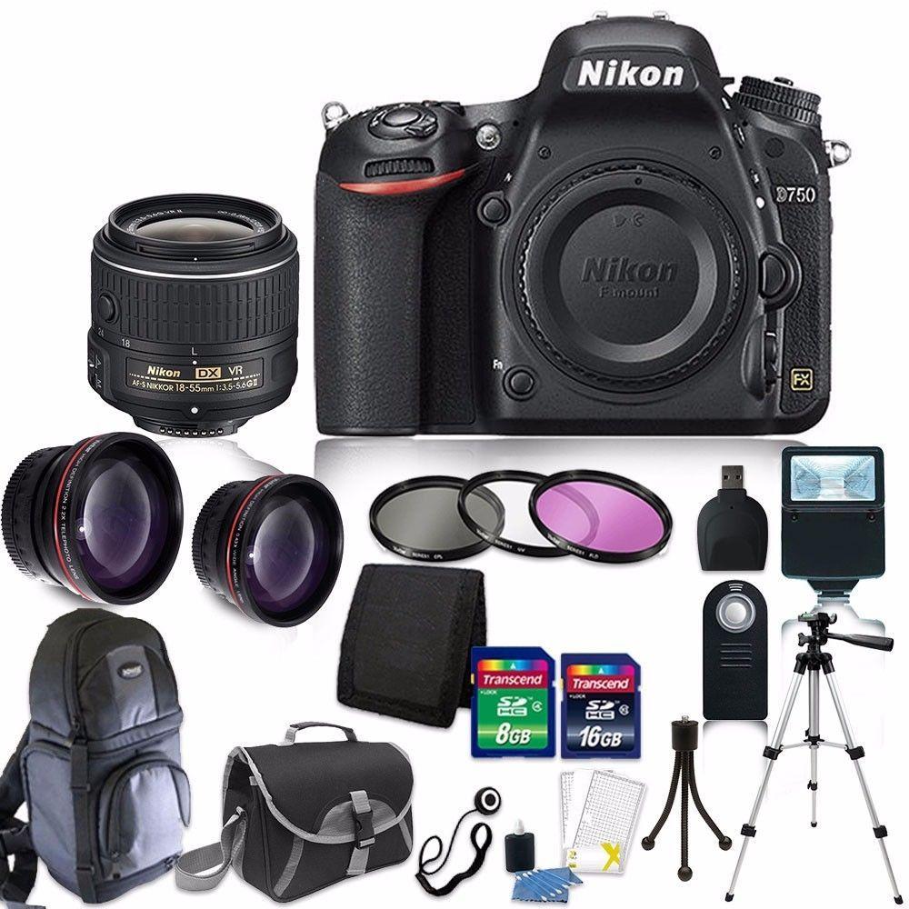 Nikon D750 Digital Slr Camera Body 3 Lens 18 55mm Vr 24gb Accessory Kit Nikon Dx Nikon Digital Slr Camera