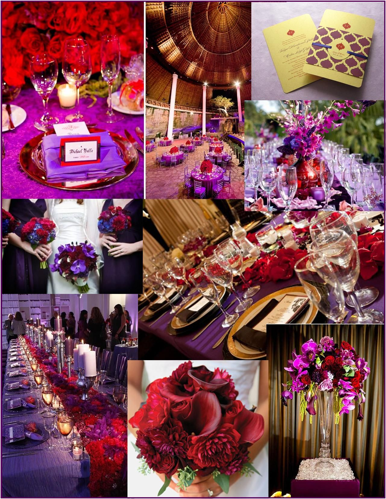 Red And Purple Wedding Ideas Votives At Table Setting