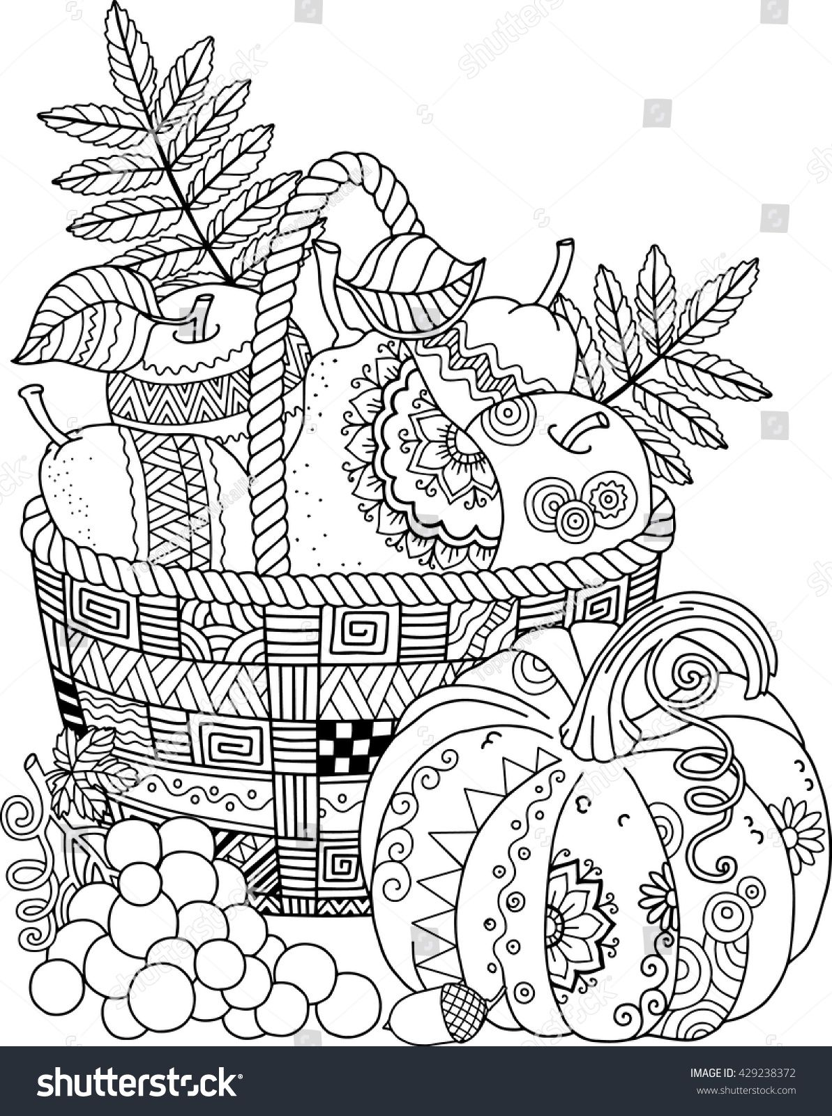 Coloring book for adult. Thanksgiving day. Basket of apples ...