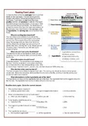 English Worksheet Reading Food Labels In 2021 Reading Food Labels Nutrition Labels Food Labels