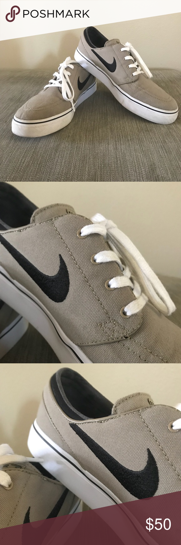 Nike Zoom Air Stefan Janoski Skate Shoes EUC, worn maybe twice, see photos , tan with black swoosh. Nike Shoes Sneakers