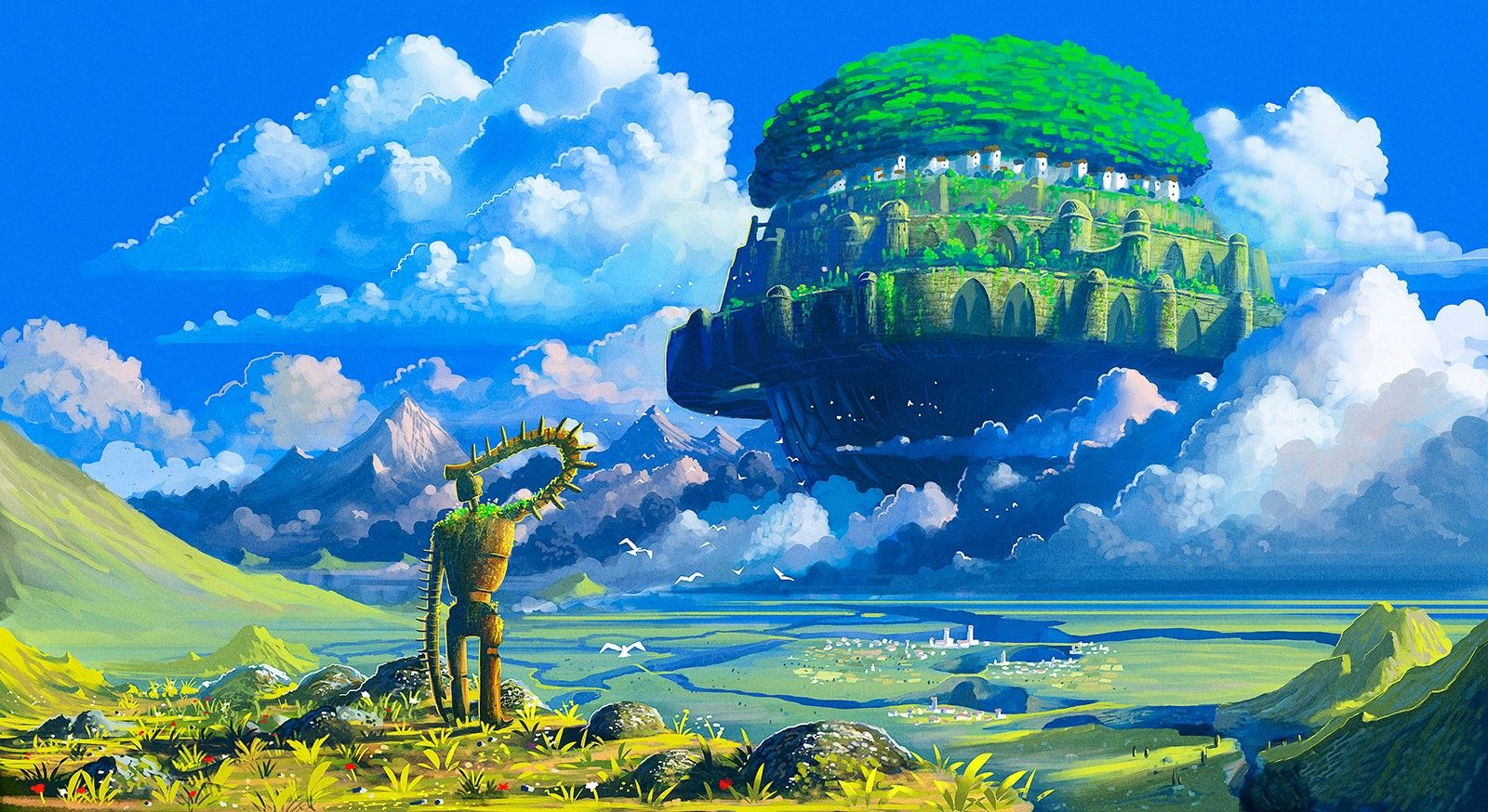Studio Ghibli Castle In The Sky Robot Anime Floating Island Hd Wallpaper Desktop Background Castle In The Sky Ghibli Art Fantasy Landscape