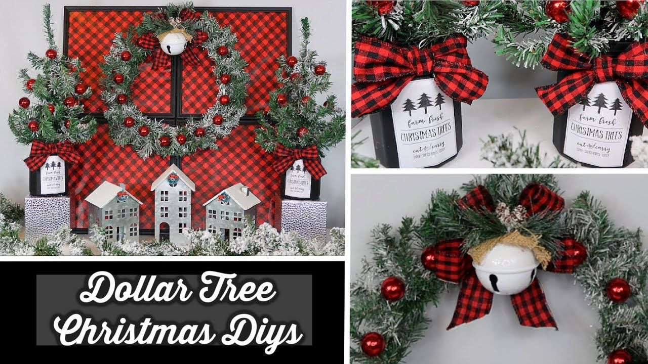Dollar Tree Christmas Diys Buffalo Check Themed Youtube Dollar Tree Christmas Decor Dollar Tree Christmas Christmas Diy