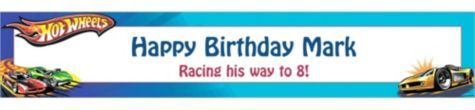 Hot Wheels Custom Birthday Banner 6ft - Boys Birthday Banners - Custom Banners - Birthday Decorations - Birthday Party Supplies - Categories - Party City