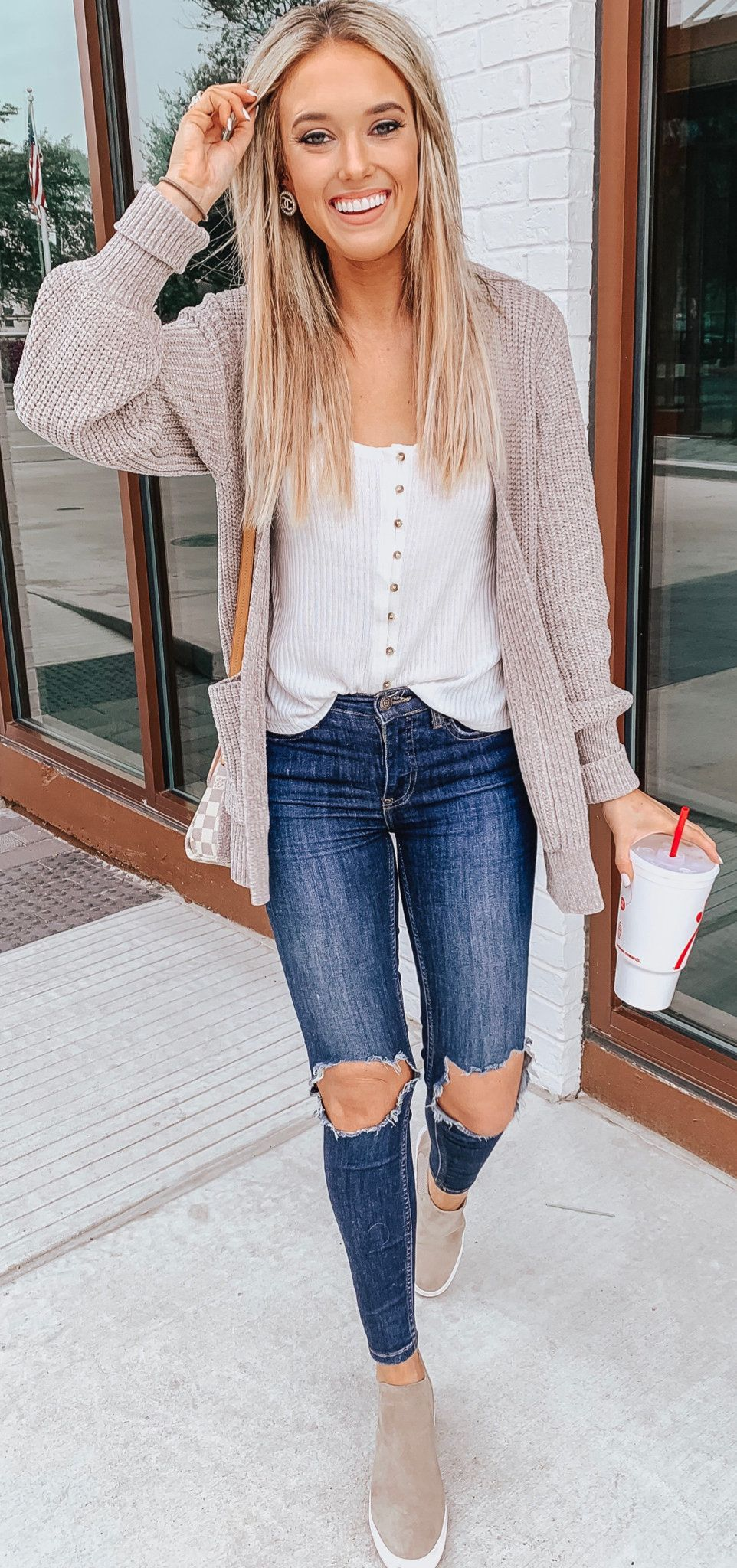 blue denim jeans #winter #outfits  Stylish winter outfits, Cute