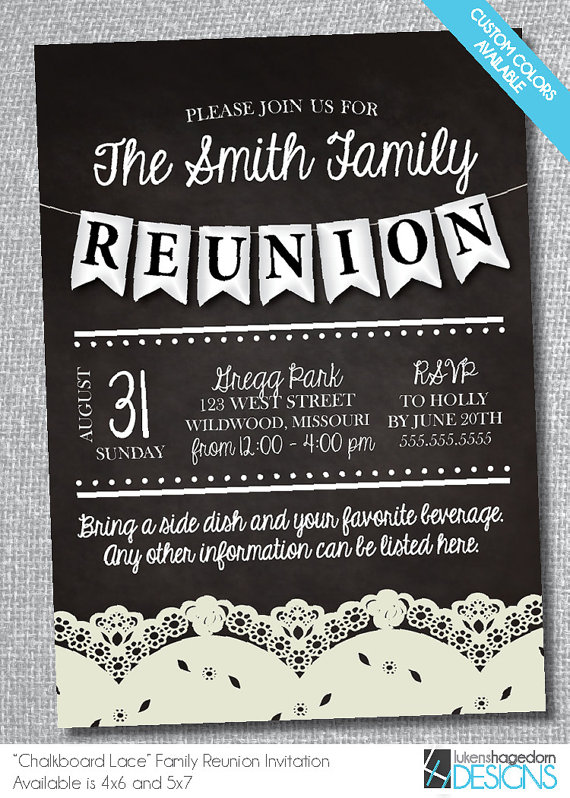 Family Reunion Chalkboard Invitation with Lace-Digital File-Custom - class reunion invitations templates