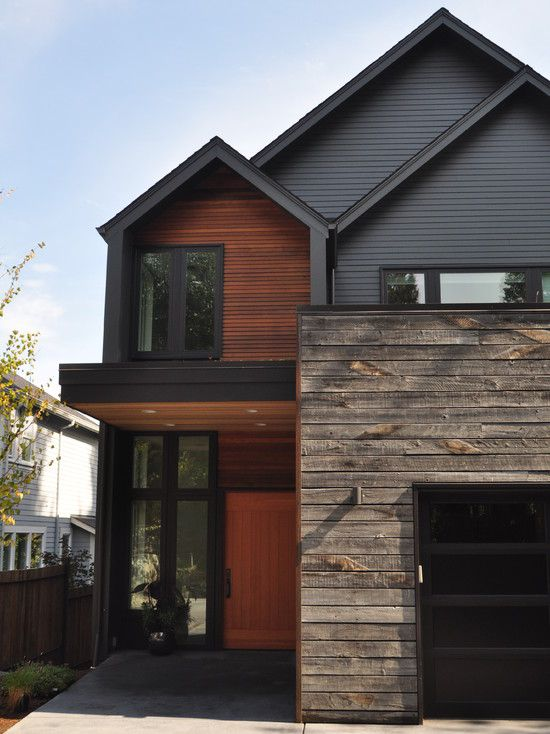 Board and batten wood siding for natural exterior ideas for Modern house numbers canada
