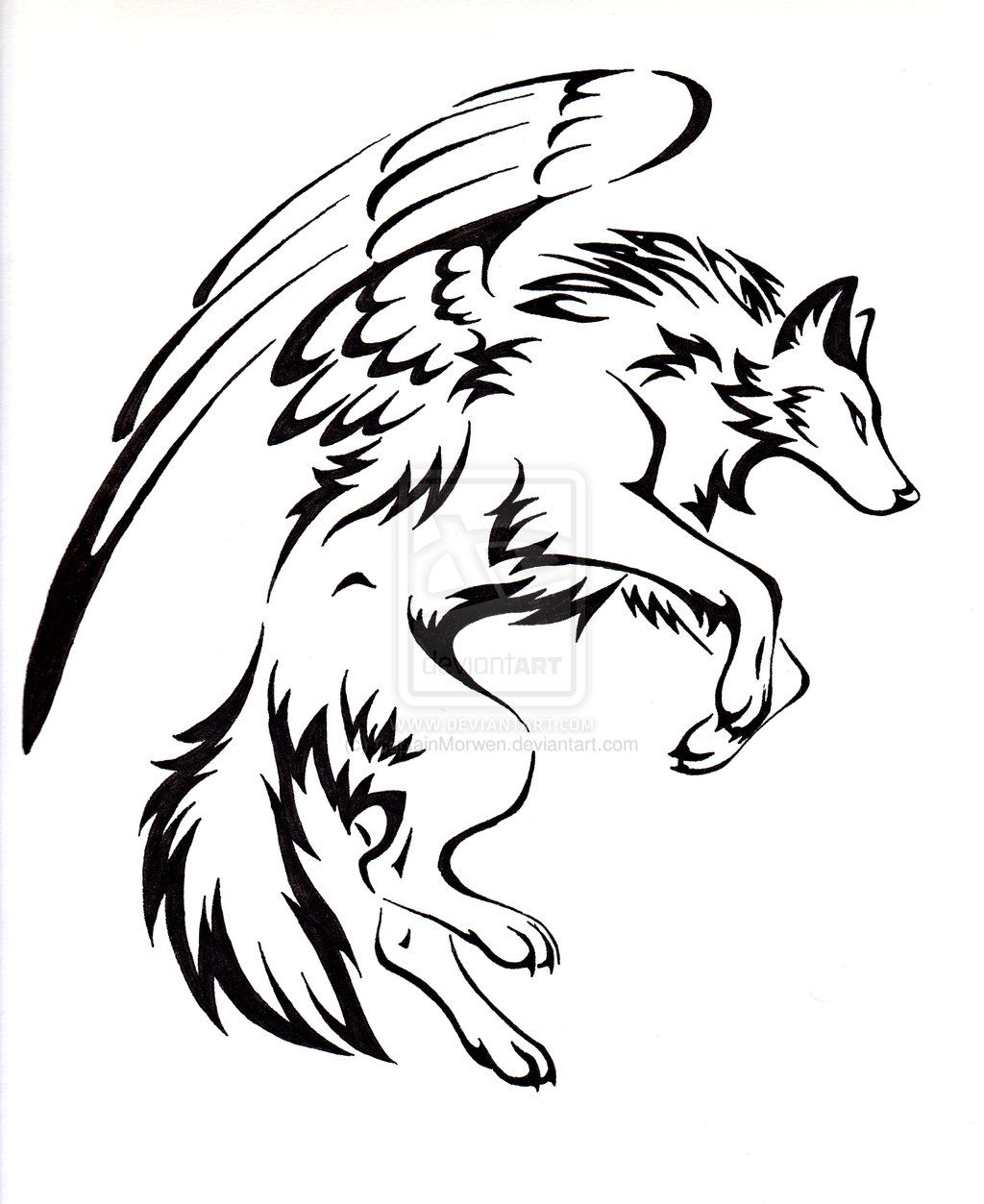 Courage Winged Wolf Tattoo by
