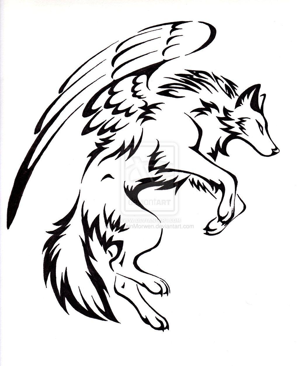 Cabeza De Lobo Tatuaje Tribal Dibujo De Boceto Vector Aislado