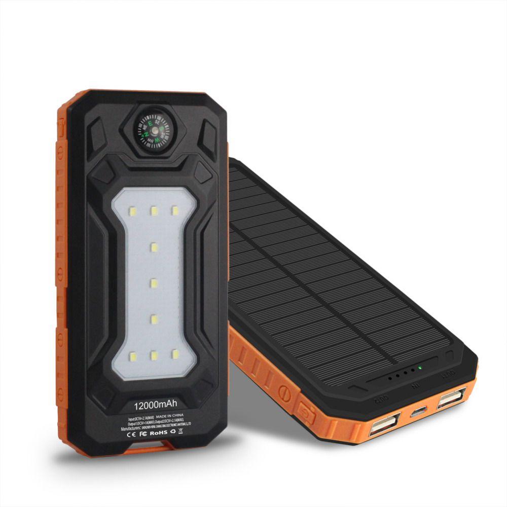 Reizen Zonne Energie Bank 12000 Mah Dual Usb Solar Batterij External Battery Charger Control New Waterproof Power Li Polymer Travel Powerbank For All Phone