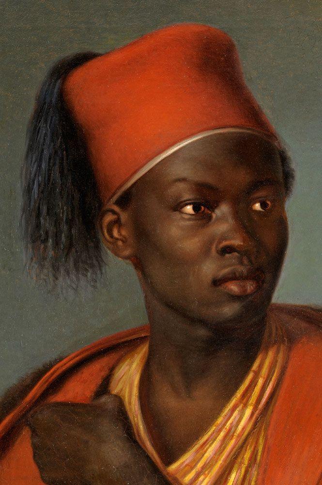 Joseph Stocker (1825-1908) - Portrait of a man with Fez, oil on canvas,