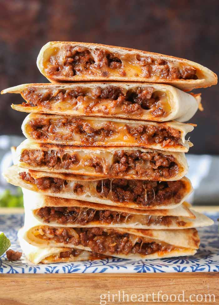 Cheesy Ground Beef Quesadillas Recipe Mexican Food Recipes Recipes Food Recipies