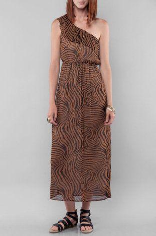 a251976100 Zebra Print One Shoulder Maxi Dress in Brown at www.tobi.com ...