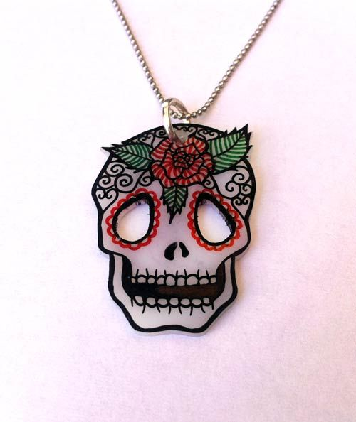 Punk Skull Pendant Necklace  #PunkTrunk #Jewelry #Jewelries #Punk #Necklace #Pendant #Fashion #Girls #Unique #DIY #Crafts #Art #Design #Skull #ShrinkPlastic