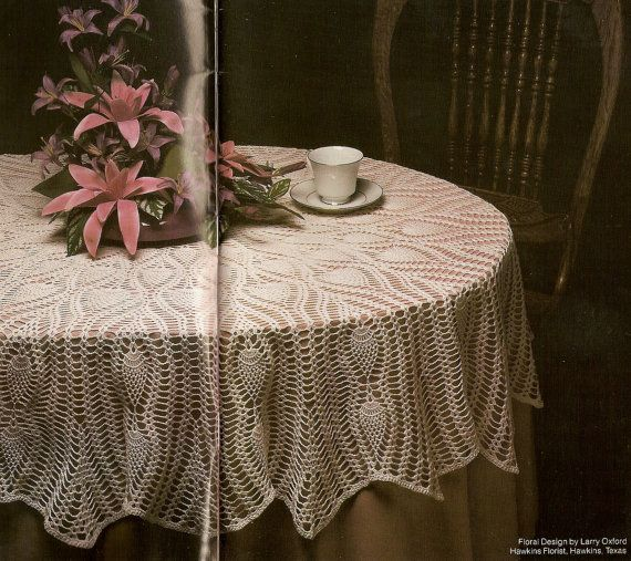 Vintage 80s Oval Pineapple Tablecloth Crochet Pattern Pdf Instant