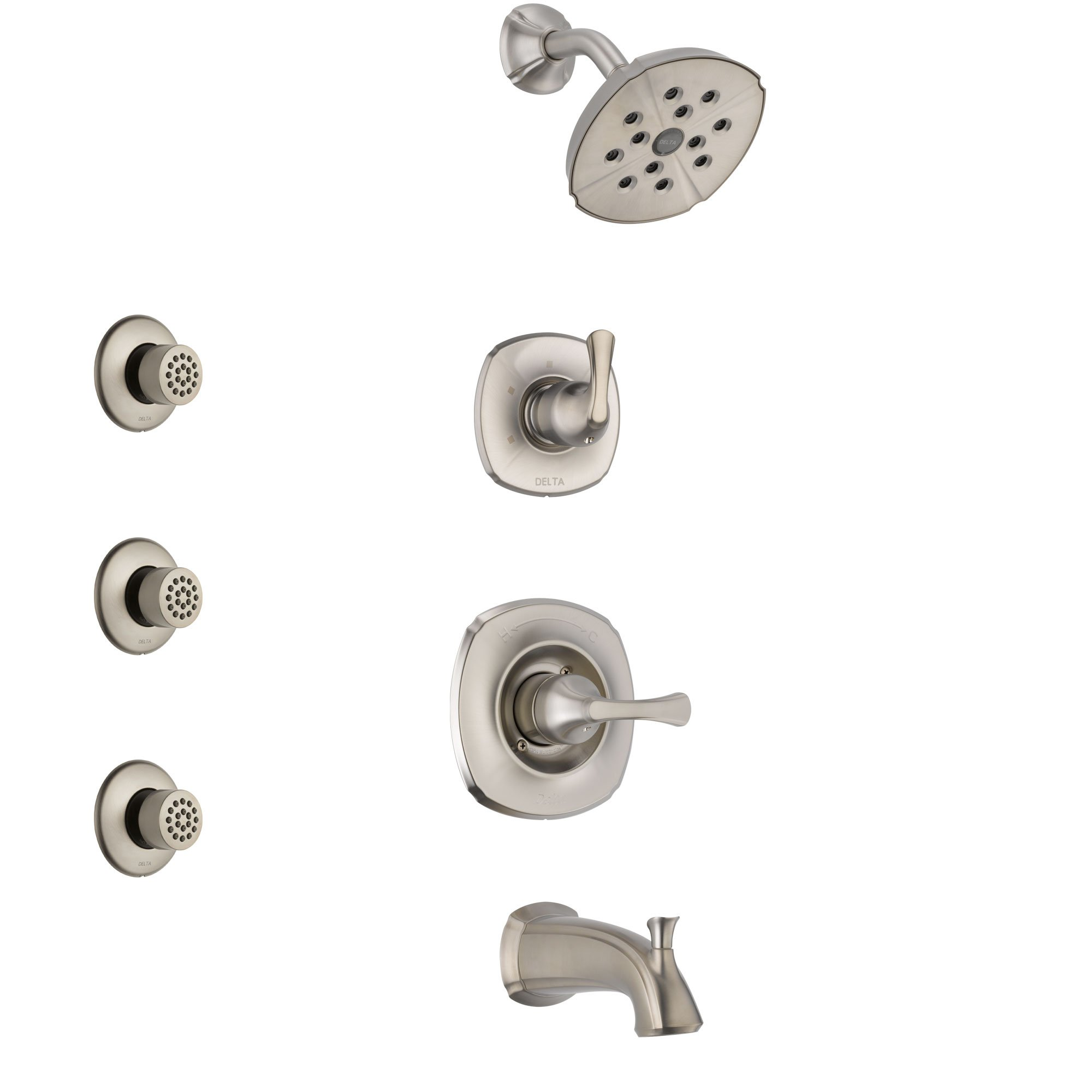Delta Addison Stainless Steel Finish Tub And Shower System With Control Handle 3 Setting Diverter Showerhead And 3 Body Sprays Ss14492ss2 Shower Systems Shower Heads Body Spray