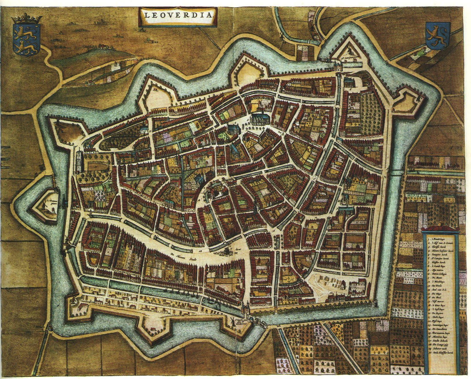 Blaeu Atlas: Leeuwarden (Ljouwert) ca 1662, Netherlands.