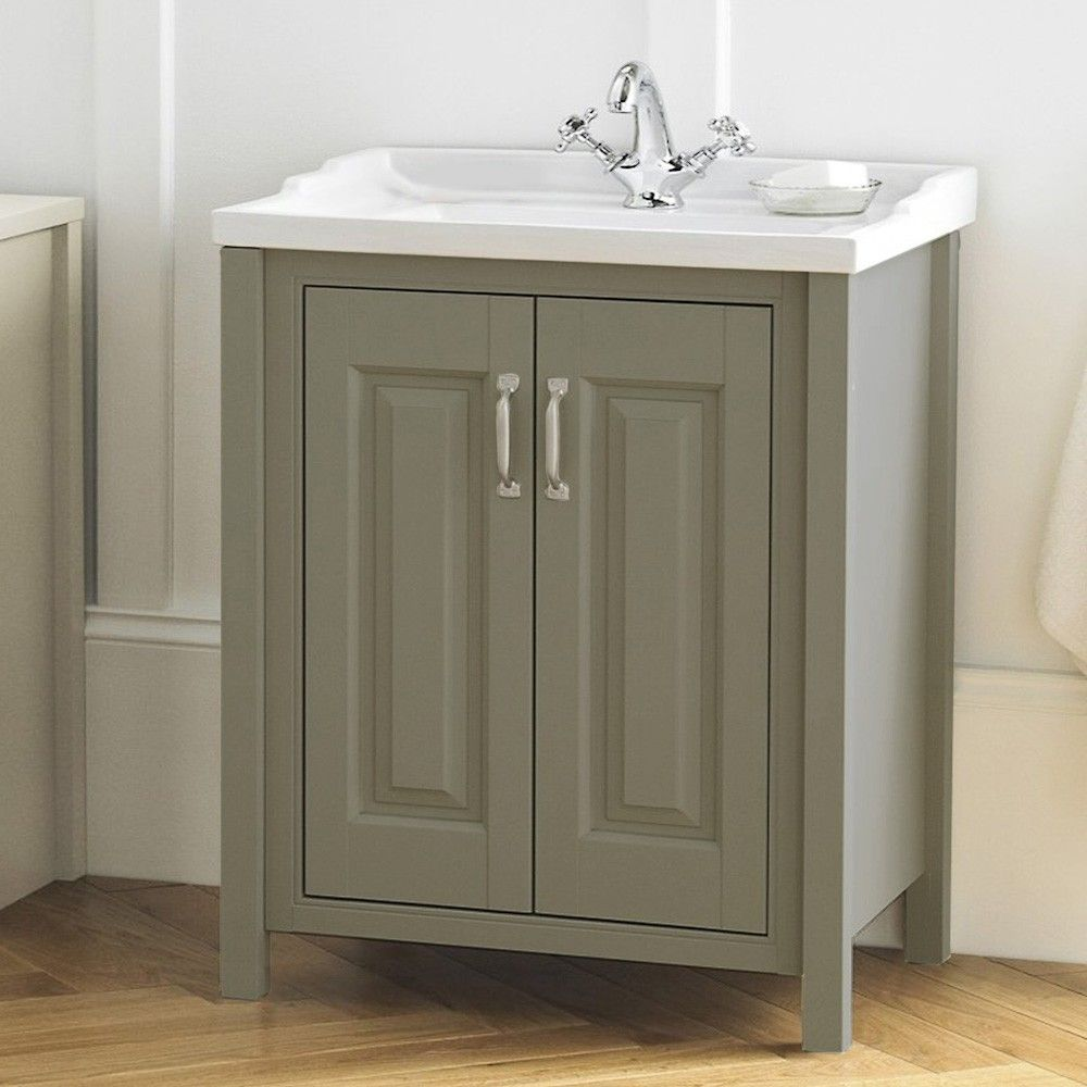 Perfect The CHILTERN Stone Grey Traditional 610mm Freestanding 2 Door Vanity Unit U0026  Ceramic Basin Comes From