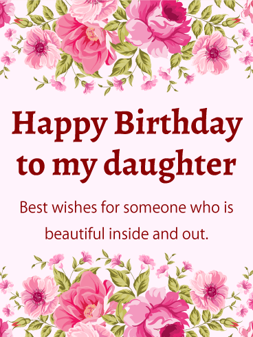 Pink Flower Happy Birthday Card For Daughter This Feminine