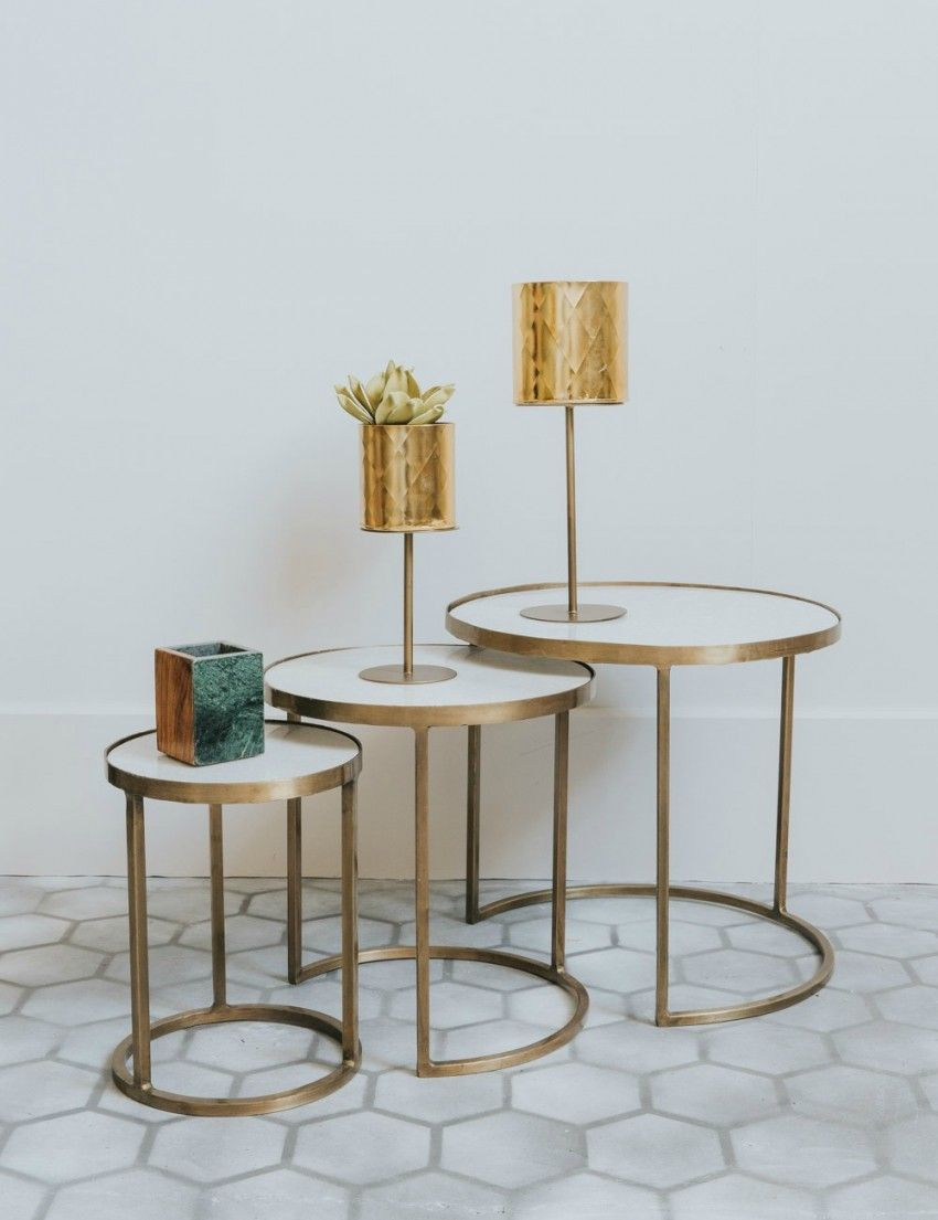 51da425d6b91 White Marble   Brass Nesting Coffee Tables at Rose   Grey