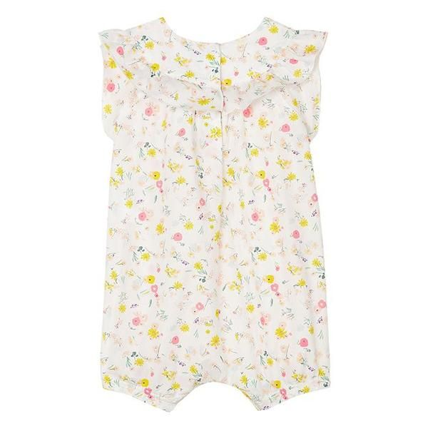 Petit bateau established over 120 years ago by pierre valton in troyes is one of the most established children's brands. currently designed by kitsune petit bateau has grown beyond its tradition of knickers and underwear and has created a full collection ranging from newborn to adult.    - all-over floral print  - ruffle around the neck  - snap closure down the back and between the legs  - cropped length  - embroidered logo at the hem  - elasticized leg openings  - short sleeves    100% cotton