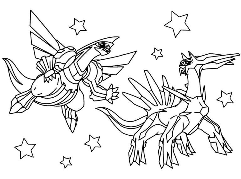 Dialga And Palkia Pokemon Coloring Pages Printable Legenda
