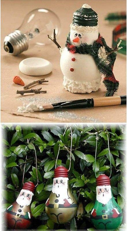 des ampoules et de la peinture voici des boules p re no l maman porcelaine pinterest. Black Bedroom Furniture Sets. Home Design Ideas