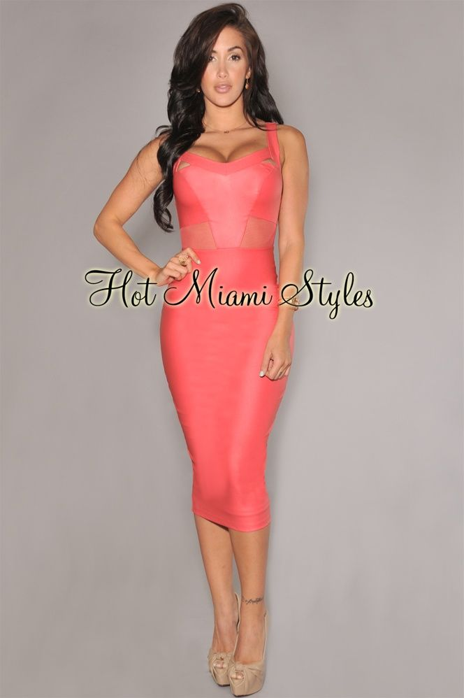 Coral Faux Leather Mesh Accent Midi Dress