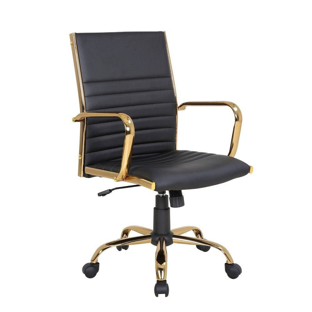 Master Contemporary Office Chair Black Gold Lumisource In 2020 Adjustable Office Chair Black Office Chair Office Chair
