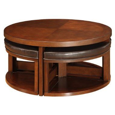 Bailey Cocktail Table With 4 Faux Leather Ottomans For