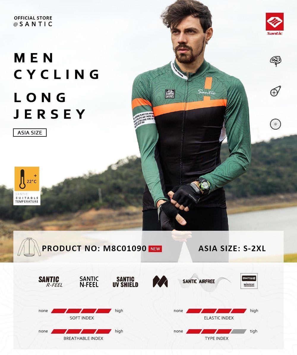 Santic Men Long Sleeve Cycling Jersey Pro Team Mtb Road Bike