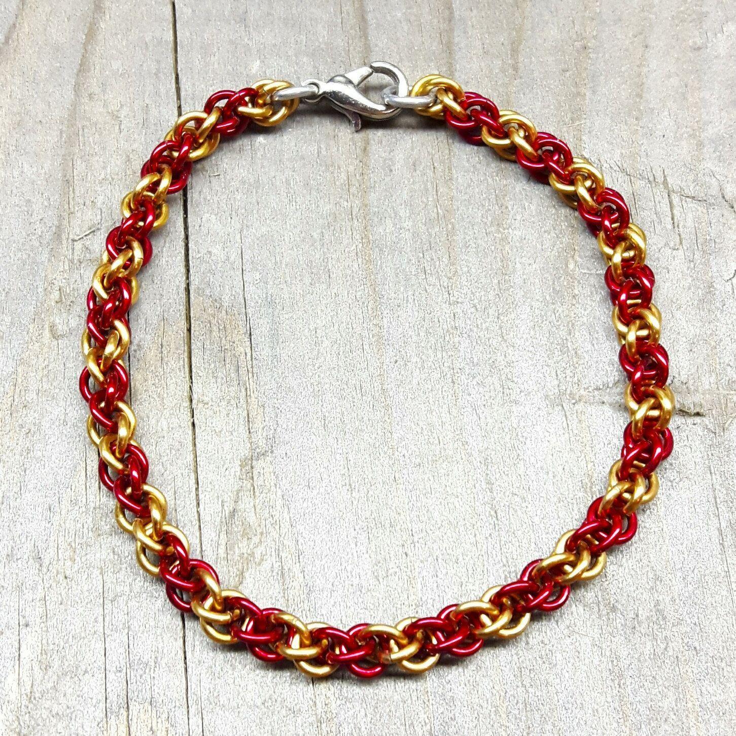Handmade unisex chainmail bracelet enamelled copper handmade jump