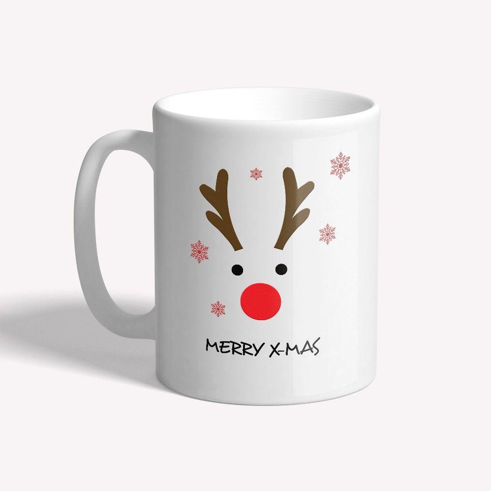 Personnalisé Blanc Mug Céramique-Père Noël et Rudolph