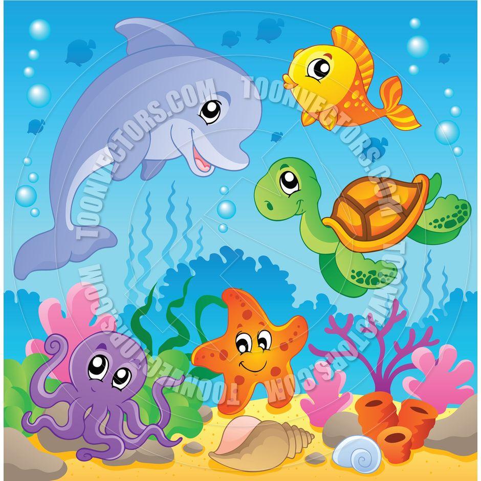 Cartoon Undersea Theme with Animals | Baby room ...