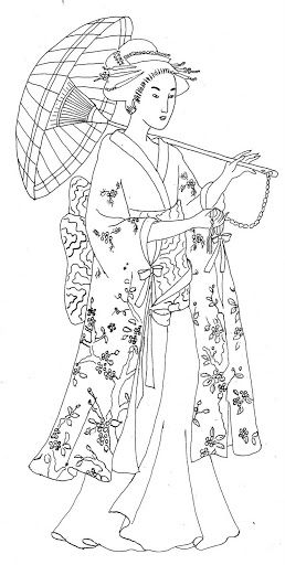 Japanese woman with parasol & kimono | Create a new board ...
