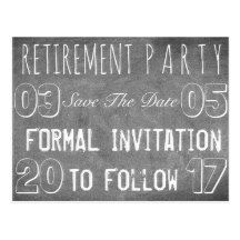 custom retirement party save the date chalkboard postcard black