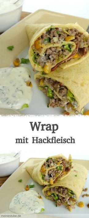 Wrap mit Hackfleisch, Salat, Speck und Mais