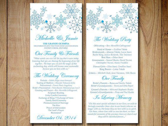 winter wedding program template download tea length program winter