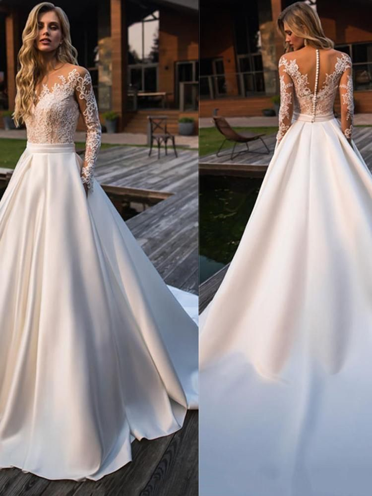 onlybridals Beach Bride Dress Appliques Lace Sexy See Through Back White Ivory Wedding Gown #branddresses
