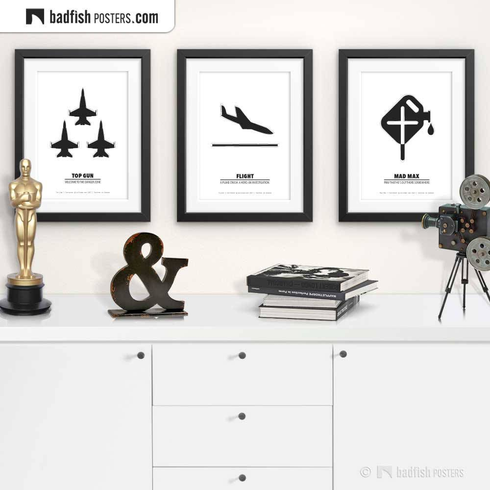 Flight Print, Alternative Movie Poster, Black & White