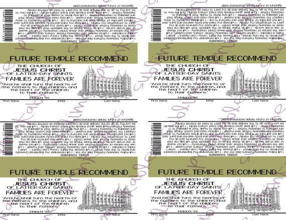 Future Temple Recommend Primary Handout by sublimeprintables