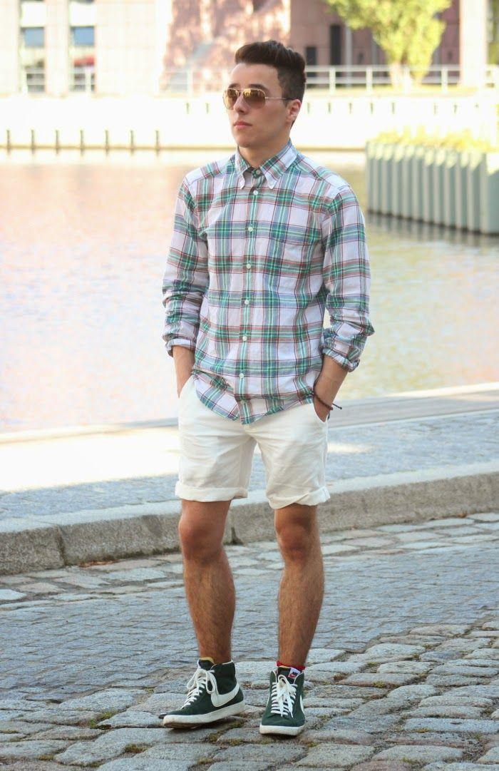 Men's Mint Plaid Long Sleeve Shirt, White Shorts, Dark Green High ...