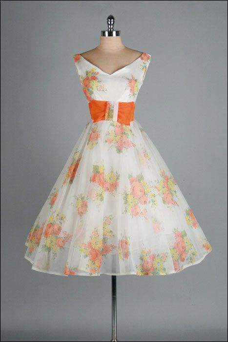 Vintage 1950s Dress Ivory Chiffon Orange By